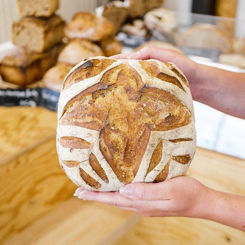 Tourte de meule entière dans la boulangerie pâtisserie Maison Fortin